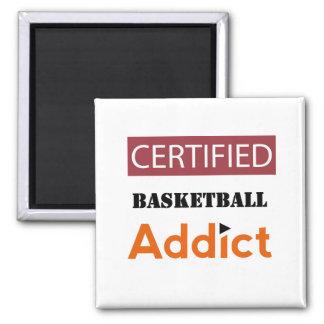 Adicto certificado al baloncesto imán cuadrado