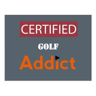 Adicto certificado al golf tarjetas postales