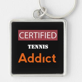 Adicto certificado al tenis llavero cuadrado plateado