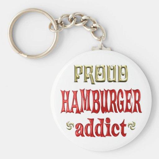 Adicto orgulloso a la hamburguesa llavero personalizado