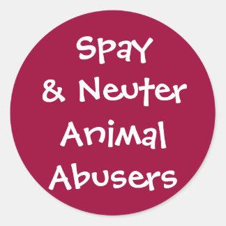 Adictos animales neutrales de Spay& Pegatina Redonda