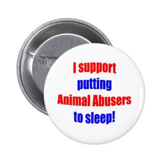 Adictos animales puestos para dormir pin redondo de 2 pulgadas