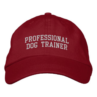 Adiestrador de perros profesional rojo y de plata gorra de béisbol bordada