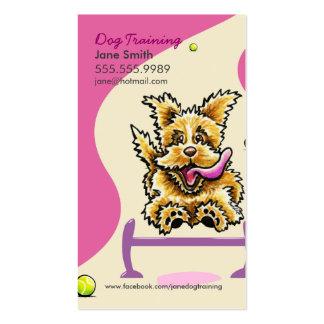 Adiestrador de perros que entrena al rosa activo tarjetas de visita