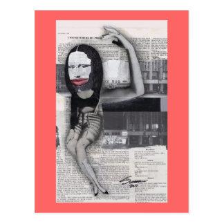Adieté durante mi collage de Mona Lisa del embaraz Tarjetas Postales