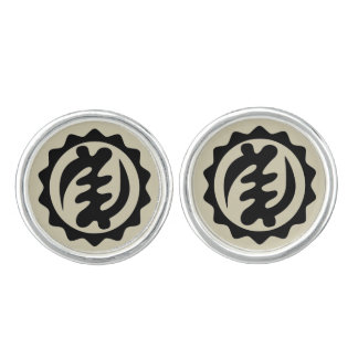 Adinkra Symbol Cufflinks  Black on Gray