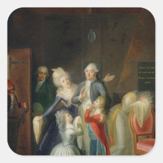 Adiós a Louis XVI de su familia Pegatinas Cuadradases Personalizadas