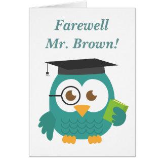 Adiós al profesor, búho lindo del profesor tarjeta de felicitación