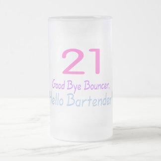 Adiós camarero de la gorila 21 hola (color) taza de cristal