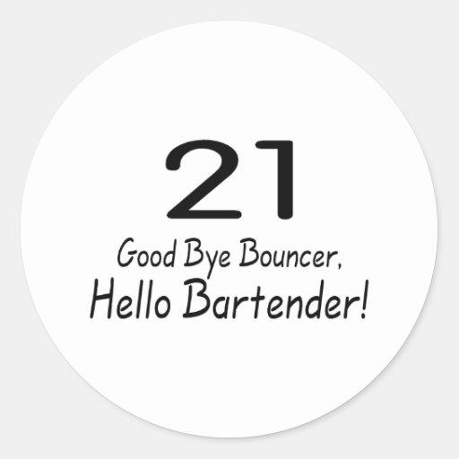Adiós camarero de la gorila 21 hola (negro) pegatina redonda