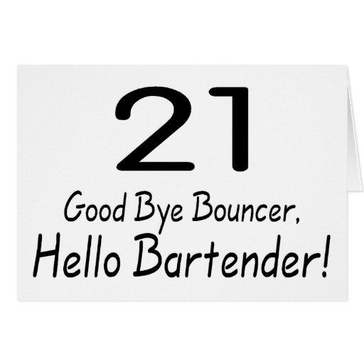 Adiós camarero de la gorila 21 hola (negro) tarjeta de felicitación
