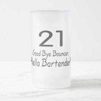 Adiós camarero de la gorila 21 hola (negro) taza de cristal