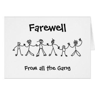 Adiós de cadena del niño tarjeta de felicitación