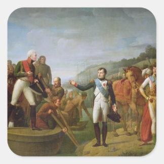 Adiós de Napoleon I y Alejandro I Calcomanía Cuadradas