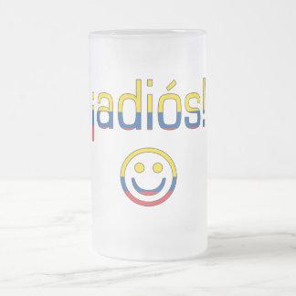 ¡Adiós! Ecuador Flag Colors Frosted Glass Beer Mug