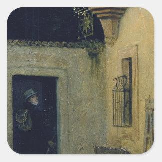 Adiós en el amanecer 1859 por Moritz von Schwind Calcomanía Cuadradas
