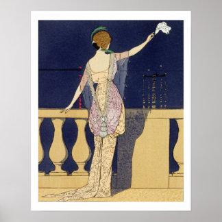 Adiós en la noche diseño para un vestido de noche posters