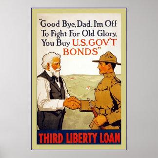 Adiós guerra mundial del vintage del del papá 1 poster