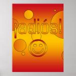 ¡¡Adiós! La bandera de España colorea arte pop Poster