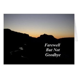 Adiós pero no adiós escena del río de la puesta de tarjetón