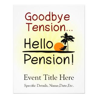 Adiós tensión, hola retiro divertido de la pensión tarjetas publicitarias