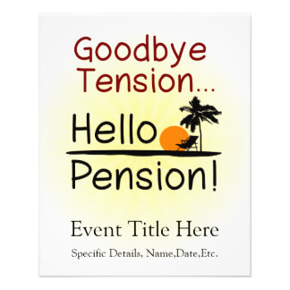 "Adiós tensión, hola retiro divertido de la pensión folleto 4.5"" x 5.6"""