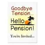Adiós tensión, hola retiro divertido de la pensión invitación personalizada