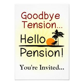 """Adiós tensión, hola retiro divertido de la pensión invitación 5"""" x 7"""""""