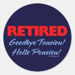 Adiós tensión jubilada (azul marino) pegatina redonda