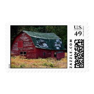 Adirondack barn postage stamp
