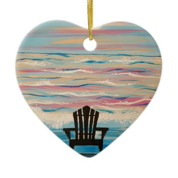 Beach Themed Adirondack Beach Chair Ceramic Ornament