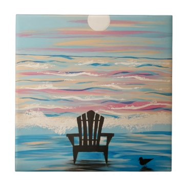 Beach Themed Adirondack Beach Chair Ceramic Tile