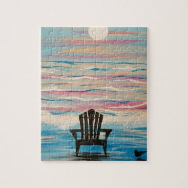 Beach Themed Adirondack Beach Chair Jigsaw Puzzle