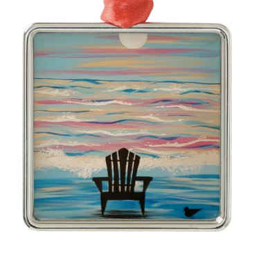 Beach Themed Adirondack Beach Chair Metal Ornament