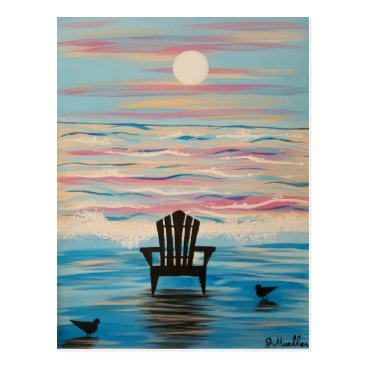 Beach Themed Adirondack Beach Chair Postcard