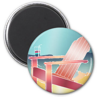 Adirondack Beach Chair Relaxing 2 Inch Round Magnet