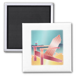 Adirondack Beach Chair Relaxing 2 Inch Square Magnet