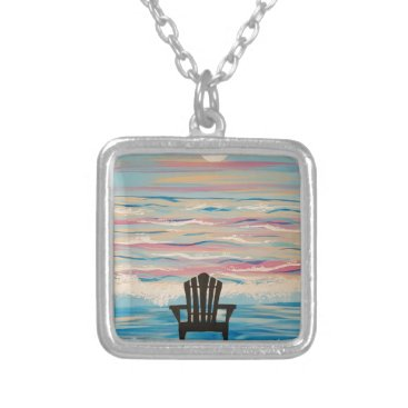 Beach Themed Adirondack Beach Chair Silver Plated Necklace