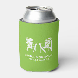 Adirondack Beach Chairs Lime Green | Wedding Can Cooler