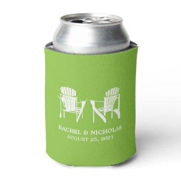 Beach Themed Adirondack Beach Chairs Lime Green | Wedding Can Cooler