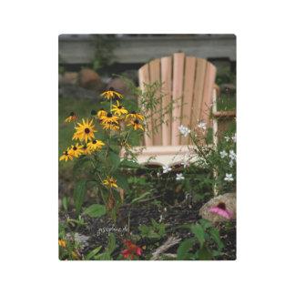 Adirondack Chair jjhelene Wild Flowers Metal Print