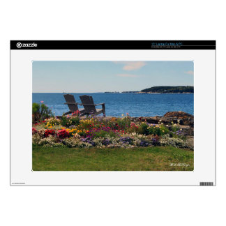 """Adirondack Chairs Along the Shore in East Boothbay 15"""" Laptop Decals"""