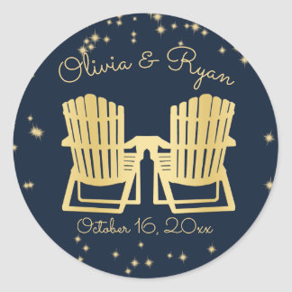 Adirondack Chairs Beach Starry Sky Classic Round Sticker