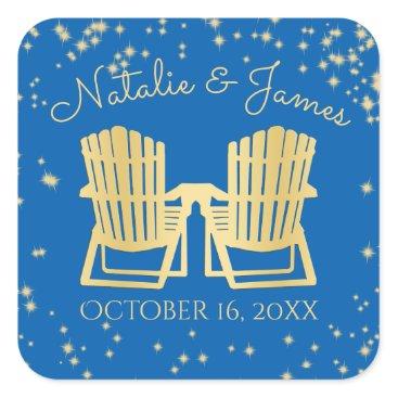 Beach Themed Adirondack Chairs Beach Starry Sky Square Sticker