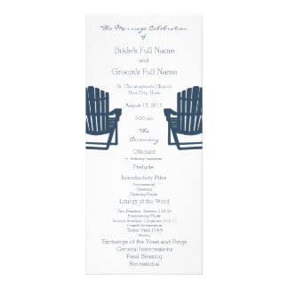 Adirondack Chairs Blue Beach Wedding Program