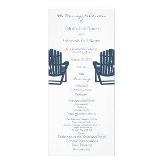 Adirondack Chairs Blue Beach Wedding Program Personalized Rack Card