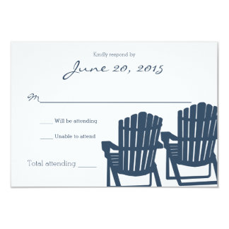 "Adirondack Chairs Blue Beach Wedding Response Card 3.5"" X 5"" Invitation Card"