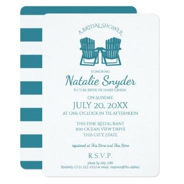 Beach Themed Adirondack Chairs Bridal Shower Card