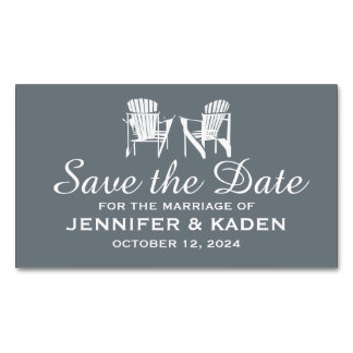 Adirondack Chairs CHARCOAL | Save the Date Magnetic Business Card