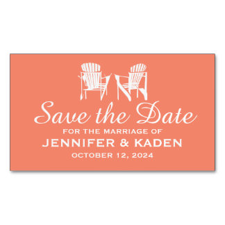 Adirondack Chairs CORAL | Save the Date Magnetic Business Card